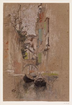 James Whistler. Venetian Canal, 1880. Pastel.