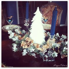Holiday tablescape, centerpiece, winter feather snowy tree and pine - christmas decor, holiday decoration