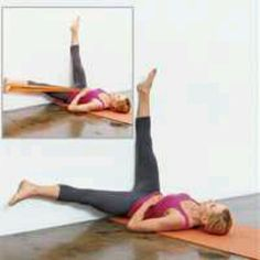 Main Move: Windshield Wipers: (tones inner and outer thighs)  From Wall Bridge starting position, extend legs straight up against wall so body forms an L. Inhale and slowly lower left leg down wall like a clock arm toward 9 o'clock; exhale and return to start. Repeat with right leg, sweeping toward 3 o'clock. Continue to alternate legs until you've completed all reps.  MAKE IT HARDER Wrap an exercise band around left foot and hold both ends beside opposite hip for added resistance as you…