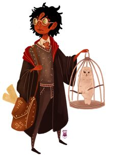Harry and Hedwig. -- Jimmymm-Ilustra on Tumblr.  A personal headcanon of mine is that both Harry and Hermione are POC. Harry being half-Indian on his father's side, and Hermione being black. I think thats one of the things I love about JKR's writings, she leaves out just enough detail for us to imagine the books as we want them to be.