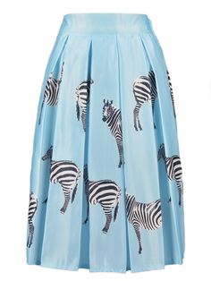 Blue Zebra Print High Waist Mid Skirt