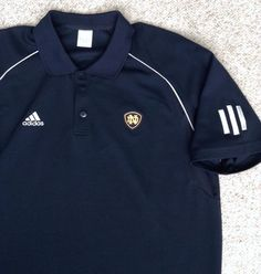 Dry-Fit Polyester ADIDAS NOTRE DAME POLO T-SHIRT Dark-Navy Golf Short-Sleeve LRG #adidas #NotreDameFightingIrish