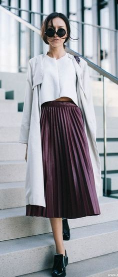 A perfectly pleated skirt is always a good idea for Fall.