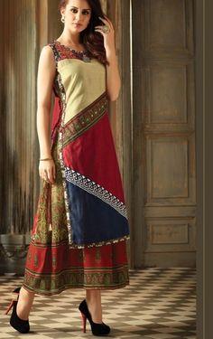 Chanderi kurti with color block and rayon print.