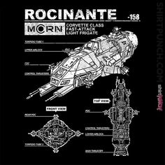 Rocinante Specs from ShirtPunch The Expanse Ships, The Expanse Tv, Be Good To Me, Give It To Me, Expanse Tv Series, Pintura Exterior, Day Of The Shirt, Spaceship Art, Sci Fi Shows