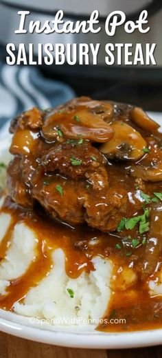 Instant Pot salisbury steak is comfort food heaven. It is perfect over mashed potatoes, topped with mushroom gravy! Instant Pot salisbury steak is comfort food heaven. It is perfect over mashed potatoes, topped with mushroom gravy! Minute Steak Recipes, Beef Recipes, Healthy Recipes, Cooking Recipes, Recipies, Cooking Cake, Beef Tips, Potato Recipes, Best Instant Pot Recipe