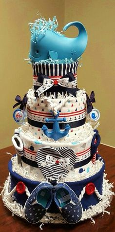 Pin this Ahoy it is a boy! Nautical diaper cake, child bathe present. Extra photographs on my Fac...