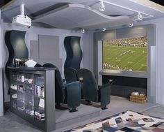 Small theatre room.  But I would make it long enough so the chairs could recline