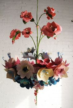 Coyote Atelier wishlist: Paper Flower Chandelier by the incredible Eloise Corr Danch. Paper Flowers Diy, Handmade Flowers, Flower Crafts, Diy Paper, Fabric Flowers, Paper Art, Paper Crafts, Flower Art, Paper Chandelier