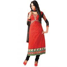 Captivating Red Cotton Indian #Churidar Kameez #SalwarKameez #Fashion #Dresses #Clothing