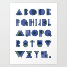 An alphabet created using only 3 shapes, circle, square and triangles. Created individual letters separately on the LetterMpress app.