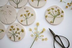 Air dry clay - pressed flowers