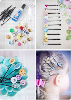 """Super Easy DIY Button Hair Clips """"DIY: vintage buttons and bobby pins. I need to serious do this craft. I have a small box full of all kinds of buttons! Button Art, Button Crafts, Diy And Crafts, Crafts For Kids, Arts And Crafts, Teen Crafts, Summer Crafts, Creative Crafts, Fall Crafts"""