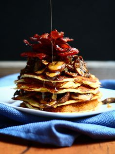 Mushroom and Bacon topped Pancakes
