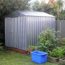 Once the garden grows you won't even see Dale's gleaming new shed