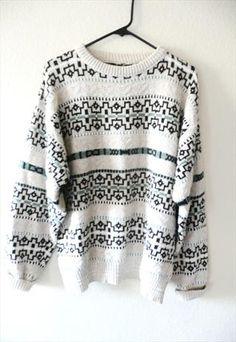 vtg 90s mens cotton knit patterned jumper