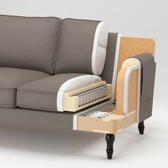 Renew your home - STOCKSUND Sofa, Nolhaga gray-beige. Brown Wood, Black Wood, Stocksund Sofa, Pipe Decor, Mousse Polyuréthane, Ikea Family, Sofa Legs, Sofa Frame, Polyurethane Foam