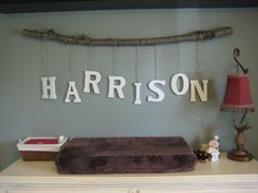 "3"" Letters Custom Tree Branch Mobile. I going to the craft store today...my Harrison no longer has a changing table in his room but I love, love, love this."