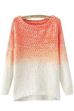 Orange Round Neck Long Sleeves Loose Sweater