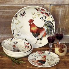 Rooster print dishes