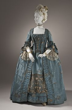 c1765 Robe a la Française. Silk plain weave (faille) with silk and metallic-thread supplementary-weft patterning, and metallic lace, Petticoat center back length: 35 in. (88.9 cm); Robe center back length: 54 1/4 in. (137.795 cm) see it at http://collections.lacma.org/node/214643