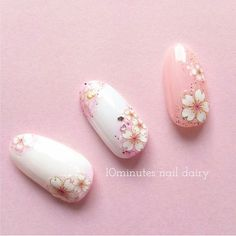 Beautiful nail art designs that are just too cute to resist. It's time to try out something new with your nail art. Cute Nails, Pretty Nails, Sculpted Gel Nails, Cherry Blossom Nails, Asian Nails, Manicure, Modern Nails, Floral Nail Art, Japanese Nail Art