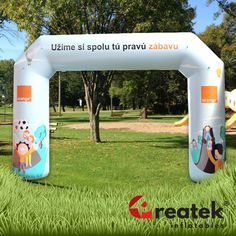 Inflatable advertising arch for all outdoor events. Inflatable advertising with custom digital print. Europe's leading manufacturer of inflatable advertising REATEK. Logo Shapes, Bouncy Castle, Indoor Playground, Central Europe, Outdoor Events, Grand Opening, Design Your Own, Playroom, Digital Prints