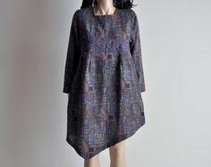 mosaic art print asymmetric woven mini dress
