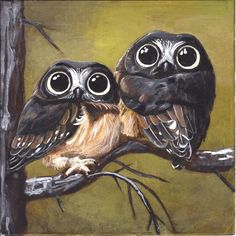 paintings of owls | Andrea Gerstmann Art: Even More Cute Owls