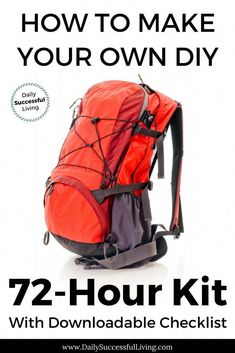 Learn how to make your own DIY 72 hour kit. Building a bug out bag is a simple way to prepare yourself for natural disasters. List of DIY disaster backpack essentials to help you survive for 72 hours until help arrives. 72 Hour Emergency Kit, 72 Hour Kits, Emergency Preparedness Kit, Survival Prepping, Survival Mode, Survival Stuff, Fire Safety For Kids, Child Safety, What Is Bug