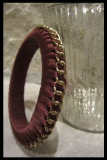 Brown and Gold Chain Woven Thread Bangle Bracelet
