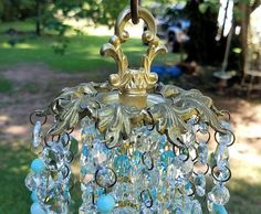 Antique Crystal Wind Chime Aqua Crystal Wind Chime Garden