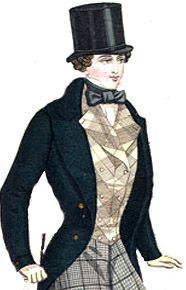 Inspiration for Petruchio. It is what men in 1840s wore but doesn't really match Glod rush. It would show that he is from somewhere else.