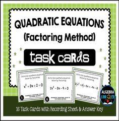 "The Best of Teacher Entrepreneurs II: FREE MATH LESSON - ""Quadratic Equations Task Cards {Solving by Factoring Method}"""