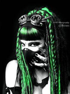 green cyber-goth girl by mistabys.deviantart.com on @DeviantArt