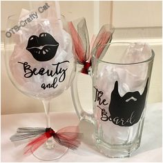 Beauty & The Beard wine glass and beer stein! $22.00