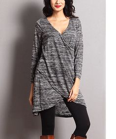 Look what I found on #zulily! Charcoal Mélange Faux-Wrap Tunic by Reborn Collection #zulilyfinds
