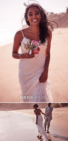 Shop David's Bridal for bohemian-inspired beach wedding dresses. Dolce & Gabbana, Wedding Attire, Wedding Gowns, Barbados Wedding, Lace Sheath Dress, Culottes, Davids Bridal, Look Cool, Boutique
