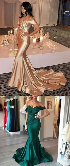 Off Shoulder Sweetheart Teal Mermaid Satin Prom Dresses, Long Prom Dresses, PD0318 #sofitbridal #promdresses #satin #mermaid #fashion