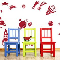 Rockets and Planets Wall Stickers. Buy online today at Bouf Kids Room Wall Stickers, Vinyl Wall Stickers, Wall Decals, Wall Art, Kids Bedroom Designs, Free Boxes, Room Accessories, Bedroom Themes, Boy Room