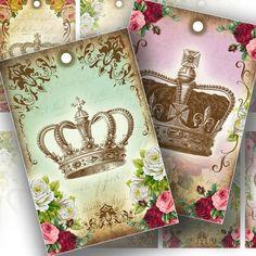 intage inspired royal crowns gift tag set printable collage sheet altered art download digital file