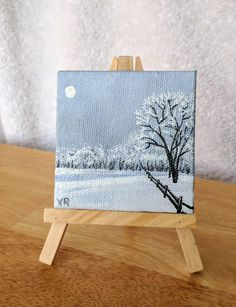 Painting Mini Painting 3 X 3 Moonlit Snow Magnet Painting Ornament Painting Or With Small Easel Trees Fence Snow Winter Scene Painting Mini Painting 3 X 3 Moonlit Snow Magnet Painting Ornament Painting Or With Small Easel Trees Fence Snow Painted By Christmas Tree Painting, Christmas Canvas, Christmas Art, Christmas Ribbon, Winter Christmas, Christmas Lights, Christmas Ornament, Painting Snow, Winter Painting