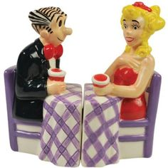 Westland Giftware Blondie Magnetic Blondie and Dagwood at Dinner Table Salt and Pepper Shaker Set, 3-3/4-Inch: Amazon.com: Kitchen & Dining