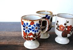 Unique Otagiri Footed Mug Cups Cobalt Blue by vintageeclecticity