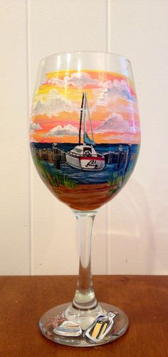 Sunset sail boat wind glass Painted Glass Vases, Glass Paint, Christmas Glasses, Beautiful Hands, Wine Glass, Decoupage, Boat, Hand Painted, Gift Ideas