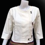 เสื้อผ้าไทยแขนสามส่วนสีขาว เสื้อผ้าฝ้ายสวยๆสีขาว เสื้อทำงานผ้าไทยแขนสามส่วน เสื้อผ้าฝ้ายคอจีนสีขาว