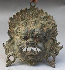 Chinese Tibetan Bronze Evil Spirits Mahakala Wrathful Deity Buddha Mask Statue