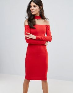 Get this Jessica Wright's midi dress now! Click for more details. Worldwide shipping. Jessica Wright Long Sleeve Choker Neck Midi Dress - Red: Dress by Jessica Wright, Smooth stretch fabric, Choker neck, Off-shoulder design, Long sleeves, Zip-back fastening, Close-cut bodycon fit, Hand wash, 95% Polyester, 5% Elastane, Our model wears a UK 8/EU 36/US 4 and is 173cm/5'8 tall. (vestido por la rodilla, rodilla, media pierna, medias piernas, media piernas, medias pierna, medio largo, por debajo…