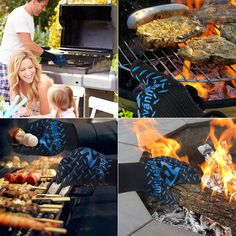 simdevanma Oven Gloves Heat Resistant Cooking Mitts-BBQ Grilling Big Green Egg- Fireplace Accessories and Welding,Cut Resistant and Forearm Protection with High Performance Heat Resistance,XL(blue) Barbecue Pit, Bbq Grill, Grilling, Cat Grass, Heat Resistant Gloves, Bbq Tools, Oven Glove, Fireplace Accessories, Green Eggs