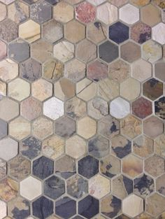 """Slate hexagon tile from Jack Laurie Home Floor Designs at the Indiana Design Center. """"I like this for country bath downstairs floor"""" Modern Flooring, Diy Flooring, Kitchen Flooring, Flooring Ideas, Home Floor Design, House Design, Washington Houses, High Point Furniture, Hexagon Tiles"""